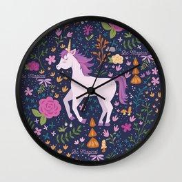 Be Magical Unicorn Pattern in a Garden Wall Clock