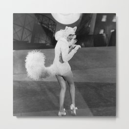 Bad Kitty - girl dressed as a cat humorous black and white photography - photographs Metal Print