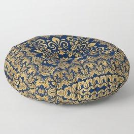 Oriental Damask Ornament - Gold on dark blue #1 Floor Pillow