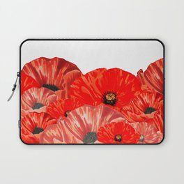 Poppies on White Laptop Sleeve