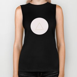 Soft Pink And Rustic Gold Triangles Biker Tank