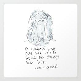 A Woman Who Cuts Her Hair Art Print