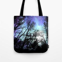 black trees periwinkle blue aqua space Tote Bag