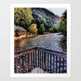 Mountain Scenic landscape at Smoky Mountains on lake Art Print