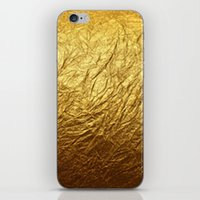 gold foil iPhone & iPod Skins featuring Gold Foil by digital detours