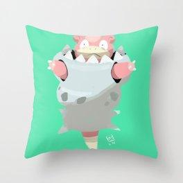 Mega Uncomfortable Slowbro Throw Pillow