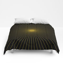 Gold glitter sun rays, gold glitter, gold black abstract geometric, gold sparkles Comforters