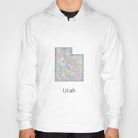 utah Hoodies featuring Utah map by David Zydd