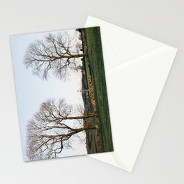 Trees and barns at sunset, above Matlock. Derbyshire, UK. Stationery Cards