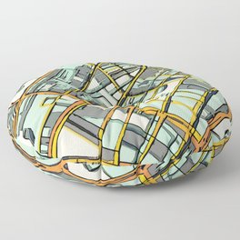 Abstract Map- Boston South End Floor Pillow