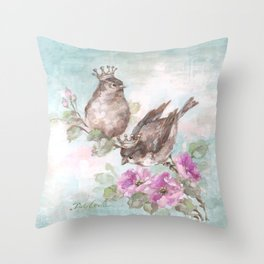 French Crown Songbirds I Throw Pillow