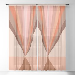 Abstraction_Rainbow_Triangle_Minimalism_001 Sheer Curtain