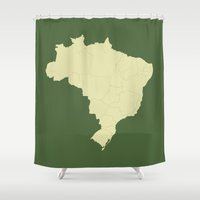 brazil Shower Curtains featuring Brazil States by CartoPosters Maps