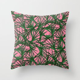 Sprigs pink Throw Pillow