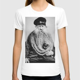 Kitten in the Beard of Old Man black and white photograph T-shirt