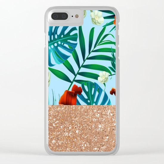 Tropical blue floral rose gold Clear iPhone Case