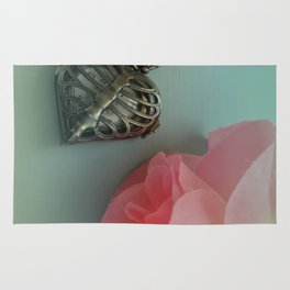 Pink Rose, Skeleton Clock, Mint Green, Heart Shaped Rug