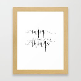 PRINTABLE Art, Enjoy The Little Things, Inspirational Quote, Kitchen Decor,kitchen Sign, Quote Print Framed Art Print