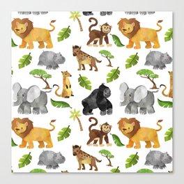 Safari Animals Pattern Watercolor Canvas Print