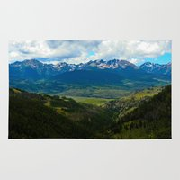 gore Area & Throw Rugs featuring Gore Range with ranches below by Calm Cradle Photo & Design