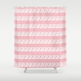 Pink and white Greek wave ornament pattern Shower Curtain