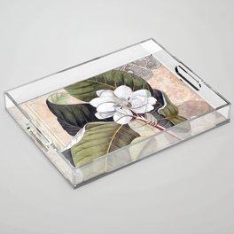 Vintage White Magnolia Acrylic Tray