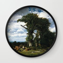 Landscape with cattle in Limousin by Jules Dupré Wall Clock