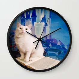 The tale of Tyche the white kitty Wall Clock