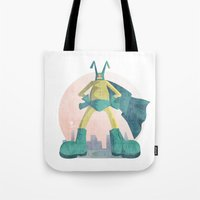 super hero Tote Bags featuring Super Hero by J.M. Benga