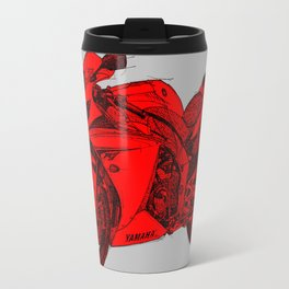 Red Motorcycle handmade drawing, great gift for men, man cave decoration Travel Mug