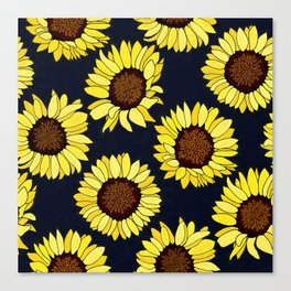 Sunflowers are the New Roses! - Navy Canvas Print