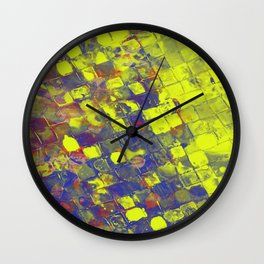 Take The First Step - Abstract, blue and yellow pattern Wall Clock