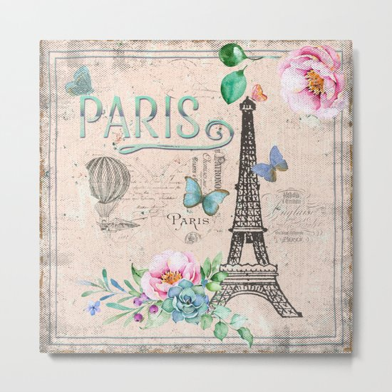 Paris - my love - France Nostalgy- pink French Vintage Metal Print