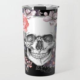 Dia Los Muertos, Floral Skull Travel Mug