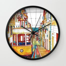 Coloring book Southern Europe Cities: Lisbon colored Wall Clock