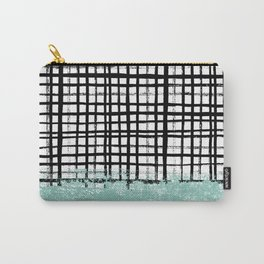 Mila - handpainted grid lines crosshatch weave with mint sage stripe minimalist nursery Carry-All Pouch