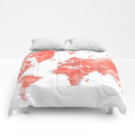 Living coral watercolor world map with cities Comforters