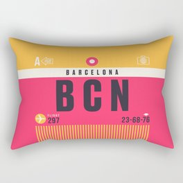 Baggage Tag A - BCN Barcelona El Prat Spain Rectangular Pillow
