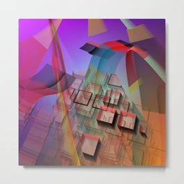 Modern geometric abstract with 3-d effects Metal Print