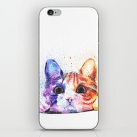 kitty iPhone & iPod Skins featuring Kitty by Liza's Brushes