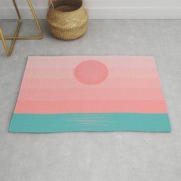 Minimalist Sunrise - Turquoise and Tropical Pink Rug