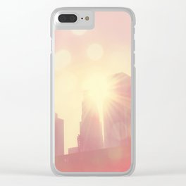 downtown Los Angeles skyline photograph. City of Lights Clear iPhone Case