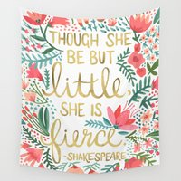 little mix Wall Tapestries featuring Little & Fierce by Cat Coquillette