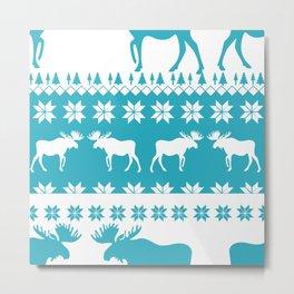 Blue & White Christmas Moose Print Metal Print