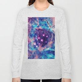 Trendy Pastel Pink Blue Nebula Girly Stars Galaxy Long Sleeve T-shirt