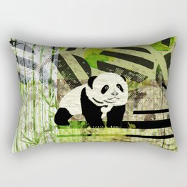 Panda Cub  Abstract vintage pop art composition Rectangular Pillow