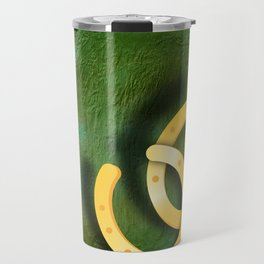 Lucky horseshoes on a textured green background Travel Mug