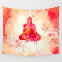buddhism Wall Tapestries featuring Red Buddha Watercolor art by Thubakabra