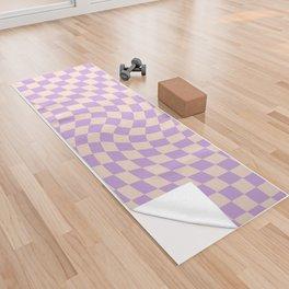 Check V - Lilac Twist — Checkerboard Print Yoga Towel