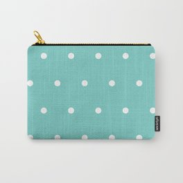 White polka dots on tiffany color background Carry-All Pouch